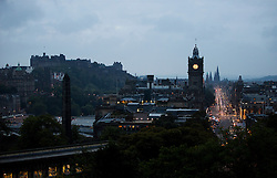 © Licensed to London News Pictures. 14/09/2014. Edinburgh, UK. A view of Edinburgh city from Calton Hill. With only  four days left to decide on the Scottish referendum, the latest polls give a mixed picture of opinions . Photo credit: Isabel Infantes / LNP