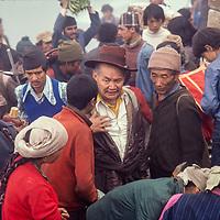 Sherpas at the weekly market at Namche Bazar, Khumbu Region, Nepal. 1980