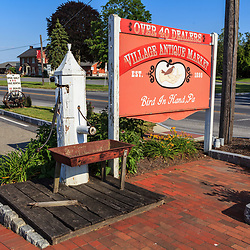 The Village Antique Market Sign on the Old Philadelphia Pike in Bird-in-Hand, Lancster County, PA.