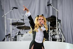 ©London News Pictures. Glastonbury Festival 2015<br /> <br /> PALOMA FAITH performs on Pyramid stage on Saturday during Glastonbury Festival 2015, Worthy Farm, Pilton.<br /> <br /> Date: 27/06/2015<br /> Photographer: Artur Lesniak /LNP