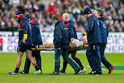 England Hooker Dylan Hartley (capt) is carried off  on a stretcher - Mandatory byline: Rogan Thomson/JMP - 19/03/2016 - RUGBY UNION - Stade de France - Paris, France - France v England - RBS 6 Nations 2016.