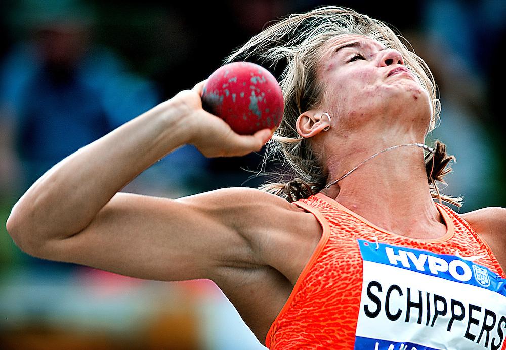 Oostenrijk, Gotzis, 30-05-2015<br /> Atletiek, Zevenkamp, Hepathlon.<br /> Kogelstoten.<br /> Dafne Schippers ( NL )  tijdens het kogelstoten met een worp van 14,66 meter.