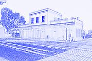 Digitally enhanced image of Israel, Tel Aviv, Neve Tzedek, Hatachana complex, a renovated Ottoman train station that was originally built to serve Jaffa