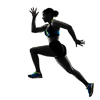 one african runner running sprinter sprinting woman isolated on white background silhouette