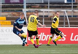 Edinburgh City's Derek Riordan scoring their first goal. Forfar Athletic 1 v 2 Edinburgh City, Scottish Football League Division Two played 11/3/2017 at Station Park.