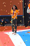 Nederlandse Olympische ploeg komt thuis en wordt gehuldigd op het plein voor Station Den Bosch.<br /> <br /> Op de foto:  Ranomi Kromowidjojo