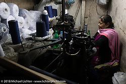 A sock maker in a side street of Kathmandu after our Himalayan motorcycling adventure, Nepal. Friday, November 16, 2018. Photography ©2018 Michael Lichter.