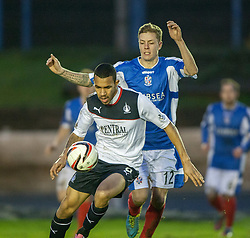 Falkirk's Phil Roberts and Cowdenbeath's David Gold.<br /> Cowdenbeath 0 v 2 Falkirk, Scottish Championship game today at Central Park, the home ground of Cowdenbeath Football Club.<br /> © Michael Schofield.