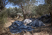 Stacks of rubber boats pieces gathered by an NGO in a local olive grove.<br /> The pieces will be recycled; bags and other products will be made of them.