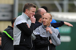 Yeovil Town's Acting Manager Terry Skiverton and Yeovil Town's Coach Darren Way - Photo mandatory by-line: Harry Trump/JMP - Mobile: 07966 386802 - 03/04/15 - SPORT - FOOTBALL - Sky Bet League One - Yeovil Town v Chesterfield - Huish Park, Yeovil, England.