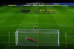 Daniel Agyei of Oxford United has his penalty saved by Jordi van Stappershoef of Bristol Rovers in the shootout - Mandatory by-line: Robbie Stephenson/JMP - 06/10/2020 - FOOTBALL - Kassam Stadium - Oxford, England - Oxford United v Bristol Rovers - Leasing.com Trophy