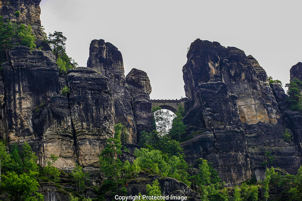 The bridge at the Bastei on the Elbe River in Germany.<br /> Photo by Dennis Brack