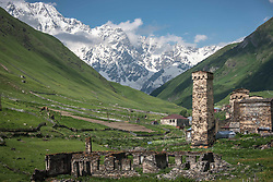 July 20, 2017 - Gori, Caucasus, Georgia - Landscape and village scenery from the mountainous region of Svaneti, in the Caucasus mountains in the north of Georgia on 20 July 2017. Svaneti is famous for its medieval defense towers, which remain standing in its villages and have become a popular tourist attraction. (Credit Image: © Diego Cupolo/NurPhoto via ZUMA Press)