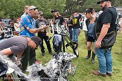 JP Rodman's custom Shovelhead at Born Free-7 at Oak Canyon Ranch. Silverado, CA. USA. Saturday, June 27, 2015.  Photography ©2015 Michael Lichter.