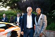 August 15, 2019:  Monterey Car Weeks, Skyler Grey, Aventador S artist, Stefano Domenicali, CEO of Lamborghini