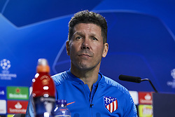 February 19, 2019 - Madrid, Madrid, Spain - Atletico de Madrid's coach Diego Pablo Simeone seen speaking during the Press Conference before the UEFA Champions League match between Atletico de Madrid and Juventus at the Wanda Metropolitano Stadium in Madrid. (Credit Image: © Legan P. Mace/SOPA Images via ZUMA Wire)