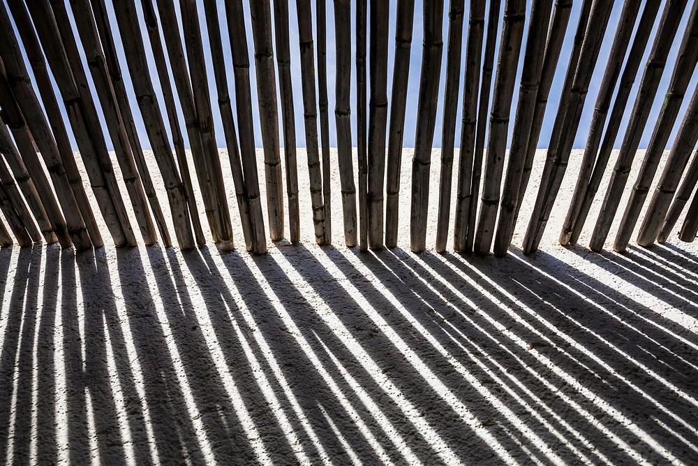 A bamboo pole shade roof, Hotel Casa Natalia, San Jose del Cabo, B.C.S., Mexico.