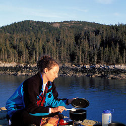 Acadia N.P., ME. Isle Au Haut. Ebens Head.  Duck Harbor. Backcountry cooking.