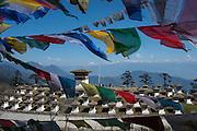 Dochu La pass overlooking Himalayas & Gnagkar Puensum, the highest unclimbed mountain in the world (22,600 feet), Bhutan