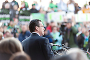 HARTFORD, CONNECTICUT. Governor Dan Malloy speaks during an anti gun rally in front of the capitol building in downtown Hartford, CT. on February 14, 2012.