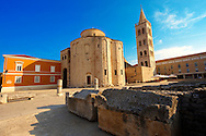 The pre-Romanesque  Byzantine St Donat's Church & the Campinale bell tower of the St Anastasia Cathedral. Zadar, Croatia .<br /> <br /> Visit our MEDIEVAL PHOTO COLLECTIONS for more   photos  to download or buy as prints https://funkystock.photoshelter.com/gallery-collection/Medieval-Middle-Ages-Historic-Places-Arcaeological-Sites-Pictures-Images-of/C0000B5ZA54_WD0s