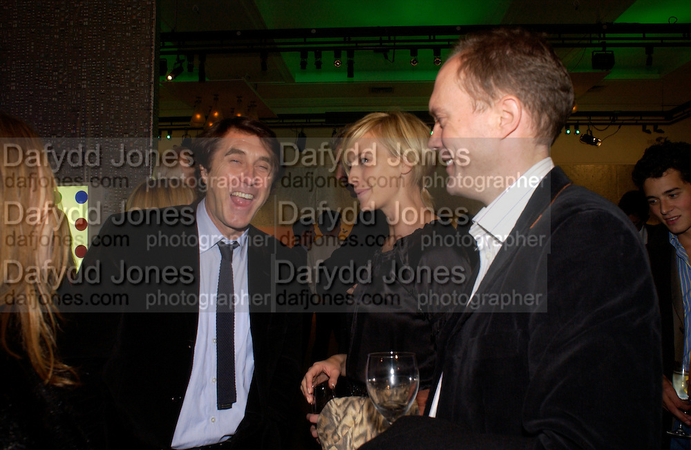 Bryan Ferry,  Bodil and Harry Blaine, Party to celebrate Damien'Hirst's Pharmacy. Sotheby's. 15 October 2004. ONE TIME USE ONLY - DO NOT ARCHIVE  © Copyright Photograph by Dafydd Jones 66 Stockwell Park Rd. London SW9 0DA Tel 020 7733 0108 www.dafjones.com