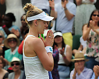 Tennis - 2019 Wimbledon Championships - Week Two, Monday (Day Seven)<br /> <br /> Women's Singles, Fourth Round: Ashleigh Barty (AUS) v Alison Riske (USA)<br /> <br /> Alison Riske celebrates her win as she clasps her hands together, on Court 2.<br /> <br /> COLORSPORT/ANDREW COWIE