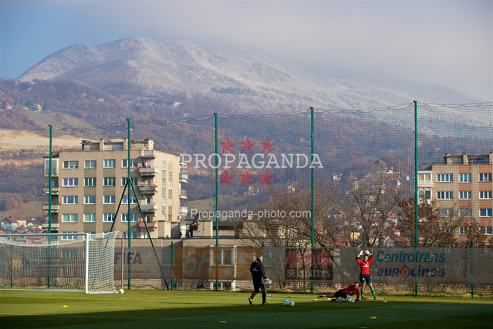 ZENICA, BOSNIA AND HERZEGOVINA - Tuesday, November 28, 2017: Wales goalkeepers Claire Skinner and Laura O'Sullivan during the pre-match warm-up before the FIFA Women's World Cup 2019 Qualifying Round Group 1 match between Bosnia and Herzegovina and Wales at the FF BH Football Training Centre. (Pic by David Rawcliffe/Propaganda)