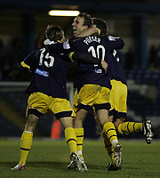 Photo: Paul Thomas.<br /> Bury v Weymouth. The FA Cup. 21/11/2006.<br /> <br /> Wayne Purser (10) of Weymouth celebrates his goal.
