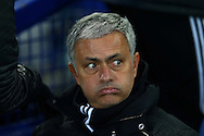 Manchester United Manager Jose Mourinho looks on from the dugout. Premier league match, Everton v Manchester United at Goodison Park in Liverpool, Merseyside on Sunday 4th December 2016.<br /> pic by Chris Stading, Andrew Orchard sports photography.