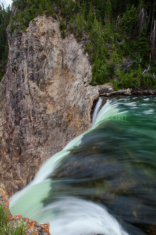 Lower Falls, falling 94m on the Yellowstone River. The Grand Canyon of Yellowstone, in Yellowstone National Park, Wyoming. The reason for the colours of the rhyolite rocks is that they are oxidising, or rusting due to their iron content.