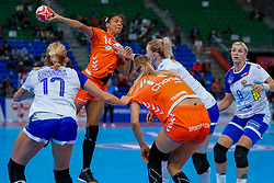 13-12-2019 JAP: Semi Final Netherlands - Russia, Kumamoto<br /> The Netherlands beat Russia in the semifinals 33-22 and qualify for the final on Sunday in Park Dome at 24th IHF Women's Handball World Championship / Delaila Amega #14 of Netherlands
