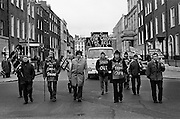 Workers from Cork Shoe Co. Ltd. walked from Cork to meet their TDs at Leinster House, in protest at the closure of their factory.<br /> 24/03/1976