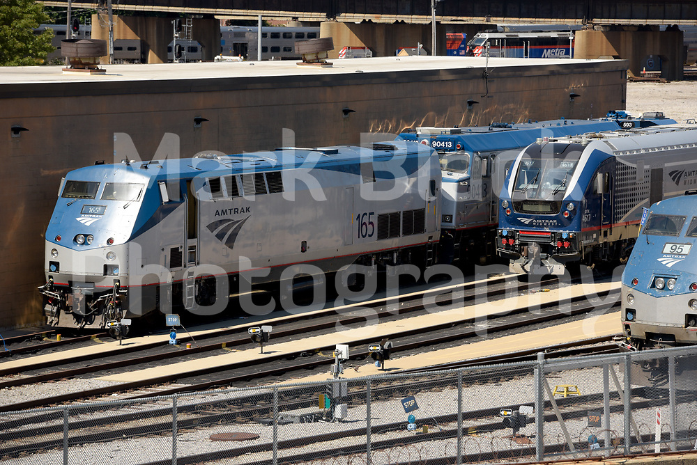 Amtrak passenger trains in Chicago on Wednesday, Aug. 19, 2020.  Photo by Mark Black