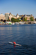 Kayaker in the Inner Harbour, Victoria, Vancouver Island, British Columbia, Canada.