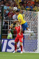 June 27, 2018 - Moscow, Russia - June 27, 2018, Russia, Moscow, FIFA World Cup 2018, First round, Group D, Third round. Football match Serbia - Brazil at the stadium of Spartak. Player of the national team Alexander Mitrovich; Thiago Silva. (Credit Image: © Russian Look via ZUMA Wire)