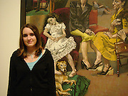 Lola Mueck in front of the painting she modelled for , Paula Rego exhibition opening, Tate Britain, 27 October 2004.  ONE TIME USE ONLY - DO NOT ARCHIVE  © Copyright Photograph by Dafydd Jones 66 Stockwell Park Rd. London SW9 0DA Tel 020 7733 0108 www.dafjones.com