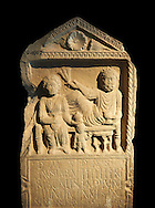 Second century Roman Christian funerary stele for 3 dead people from Africa Proconsularis. The stele depicts the deceased:  Fausata who died age 75, a man who died age 70 and a child who died age 2 years 6 months. From the first half of the second century AD from the region of Bou Arada in present day Tunisia. The Bardo National Museum, Tunis, Tunisia.  Against a black background. .<br /> <br /> If you prefer to buy from our ALAMY STOCK LIBRARY page at https://www.alamy.com/portfolio/paul-williams-funkystock/greco-roman-sculptures.html . Type -    BARDO    - into LOWER SEARCH WITHIN GALLERY box - Refine search by adding a subject, place, background colour, museum etc.<br /> <br /> Visit our CLASSICAL WORLD HISTORIC SITES PHOTO COLLECTIONS for more photos to download or buy as wall art prints https://funkystock.photoshelter.com/gallery-collection/The-Romans-Art-Artefacts-Antiquities-Historic-Sites-Pictures-Images/C0000r2uLJJo9_s0c