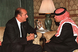 King Abdallah (or Abdullah) receives French president Jacques Chirac during King Hussein's funeral at the Royal palace in Amman, Jordan on February 8, 1999. Twenty years ago, end of January and early February 1999, the Kingdom of Jordan witnessed a change of power as the late King Hussein came back from the United States of America to change his Crown Prince, only two weeks before he passed away. Photo by Balkis Press/ABACAPRESS.COM
