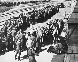 Jan. 1, 1940 - Separation of Prisoners at Railway Station, Auschwitz-Birkenau Concentration Camp, Poland, Circa 1944 (Credit Image: © Glasshouse/ZUMAPRESS.com)
