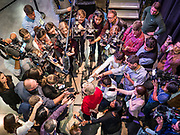 20 OCTOBER 2019 - INDIANOLA, IOWA: US Senator ELIZABETH WARREN (D-MA) answers reporters' questions during a press gaggle after her campaign speech at Simpson College in Inidianola, IA. Sen. Warren is campaigning to be the Democratic nominee for the US presidency in Iowa this week. Iowa traditionally hosts the the first selection event of the presidential election cycle. The Iowa Caucuses will be on Feb. 3, 2020.                 PHOTO BY JACK KURTZ