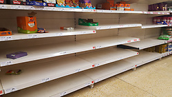© Licensed to London News Pictures. 12/03/2020. London, UK. Sainsbury's store in London runs out of Asian food amid an increased number of cases of Coronavirus (COVID-19) in the UK. 590 cases have been tested positive and ten patients have died from the virus in the UK. Photo credit: Dinendra Haria/LNP
