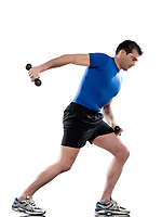 man doing workout Lunges<br /> Triceps Extension on white isolated background.<br /> Start standing up straight. Hold the weights in front of you at waist height by keeping the elbows flexed and to your side. When lunging, bring the weights behind you by extending the elbows and rotating the shoulders back. Leaning your trunk forward will help you lift the weights higher. Do 10-20 repetitions with each leg.