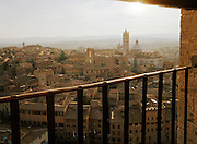 View of the Duomo Cathedral from the tower on Piazza Del Campo, Siena, Tuscany, Italy.