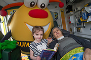 NO FEE PICTURES<br /> 26/3/16 Children nationwide will soon have the opportunity to meet their favourite Irish authors in a new and unique setting. Announced today, the partnership between children's publisher Little Island Books and BUMBLEance, The Children's National Ambulance Service will see children's authors visiting schools, festivals and libraries on board BUMBLEance to read from their work and to meet with children across primary and secondary schools nationwide. <br /> Pictured are Megan Barrett age 6 from Croom Co.Limerick with Author Siobhan Parkinson. Pictures: Arthur Carron