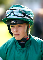 Jockey Ellie Mackenzie ahead of the Sky Sports Racing Sky 415 Maiden Stakes at Lingfield Park Racecourse. Picture date: Monday October 4, 2021.