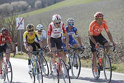 March 9, 2019 - Siena, Italy - Belgian Tiesj Benoot of Lotto Soudal and Belgian Greg Van Avermaet of CCC Team in action during the Strade Bianche one day cycling race in Siena, Italy, Saturday 09 March 2019...BELGA PHOTO YUZURU SUNADA (Credit Image: © Yuzuru Sunada/Belga via ZUMA Press)