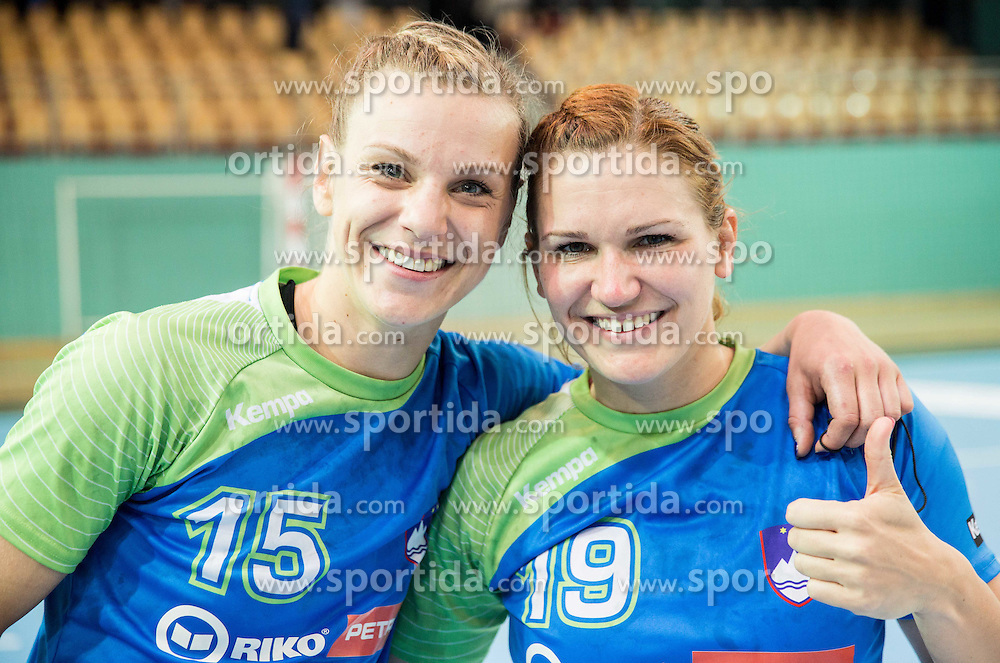 Barbara Lazovic of Slovenia and Neli Irman of Slovenia after the handball match between National Teams of Slovenia and Former Yugoslav republic of Macedonia in Round #3 of EHF European Women Championship Qualifications, on March 10, 2016 in Arena Luknja, Maribor, Slovenia. Photo by Vid Ponikvar / Sportida