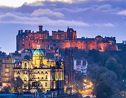 View of Edinburgh castle illuminated at night from Calton Hill in Edinburgh, Scotland ,United Kingdom