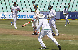 Durban. 010318. Vernon Philander of South Africa celebrates his second wicket of David Warner againts Australia during their first Sunfoil Test Match played in Durban. Picture Leon Lestrade/Afrcan Nes Agency/ ANA